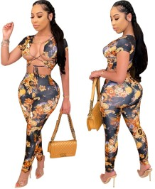Matching Two Piece Sexy Crop Top and Legging Set