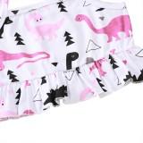 Conjunto de pantalones cortos de dos piezas con estampado animal de verano para niñas