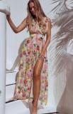 Sommer ärmelloses Blumenkleid mit langem V-Ausschnitt