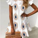 Sommer weiß drucken Boho Kleid
