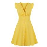 Vestido skater de verano con cuello en V amarillo