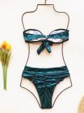 Sexy zweiteilige Badebekleidung aus Metallic mit hoher Taille