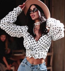 Vintage White Polka Long Sleeve Crop Top
