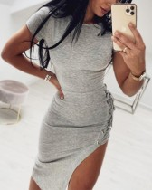 Summer Lace Up Irregular Tight Shirt Dress