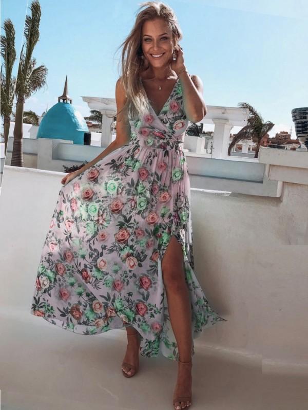 Vestido largo sin mangas floral con cuello en V de verano