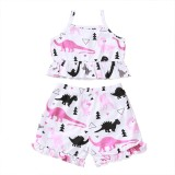 Kids Girl Summer Animal Print Zweiteiliges Shorts-Set