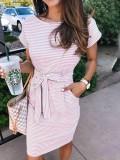 Sommer gestreiftes O-Neck Shirt Kleid mit Gürtel