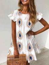 Summer White Print Boho Dress