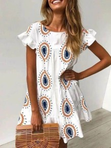 Summer White Print Boho Dress