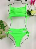 Grüne sexy zweiteilige Badebekleidung mit hohem Taillenriemen