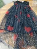 Vintage Black Dot Strap Ballkleid