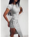 Vestido camisero irregular con cordones de verano