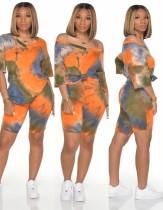 Summer Tie Dye Zweiteilige Shorts mit Gesichtsbedeckung