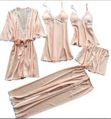 Sexy cetim conjunto de 5 peças Pijamas