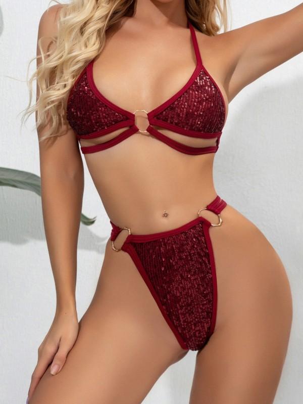 Sexy zweiteilige Pailletten Badebekleidung
