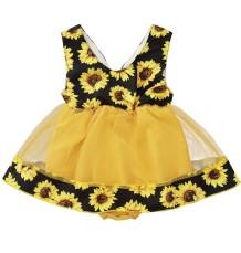 Vestido de aniversário floral do bebê menina verão