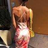 Tie Dye Elegante Vestido Largo Halter