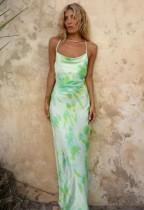Tie Dye Elegant Halfter Langes Kleid