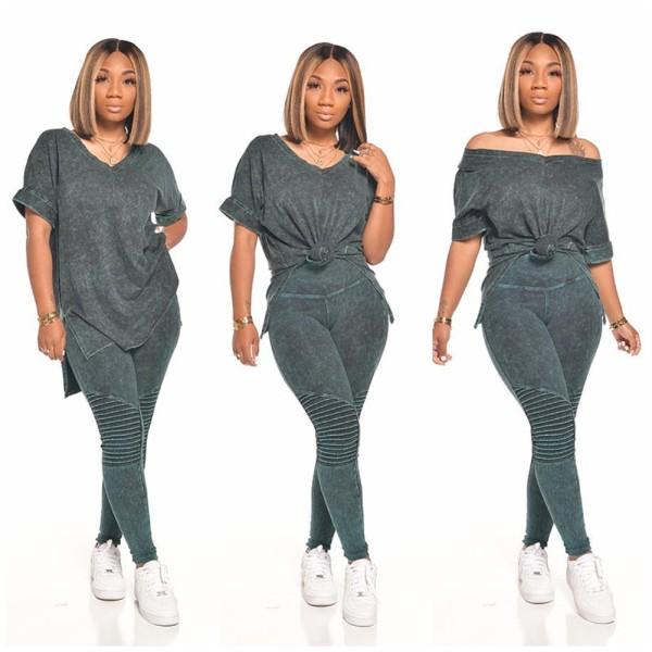 Tie Dye Matching Slit Shirt und Striped Pants Set