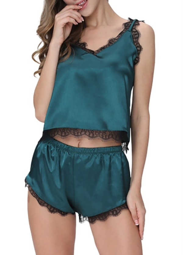 Zweiteilige Satin-Pyjama-Shorts mit Spitzenbesatz