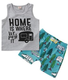 Kids Boy Summer Print Two Piece Shorts Set