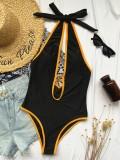 Sexy schwarze einteilige Deep-V-Badebekleidung mit Kontrastbesatz