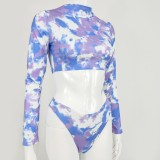 Tie Dye Two Piece Long Sleeve Crop Top and Panty Set