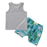 Conjunto de pantalones cortos de dos piezas con estampado de verano para niños