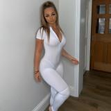 Sexy einfarbiger Kurzarm-Bodycon-Overall mit Reißverschluss