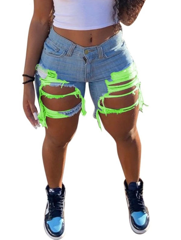 Summer Contrast Damage Rip Jeansshorts