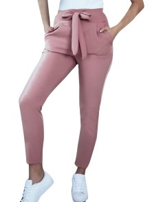 Western Casual Solid Color Knot Trousers