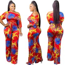 Summer Print African Elegant Jumpsuit with Belt