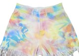 Tie Dye Shorts de mezclilla con borlas elegantes