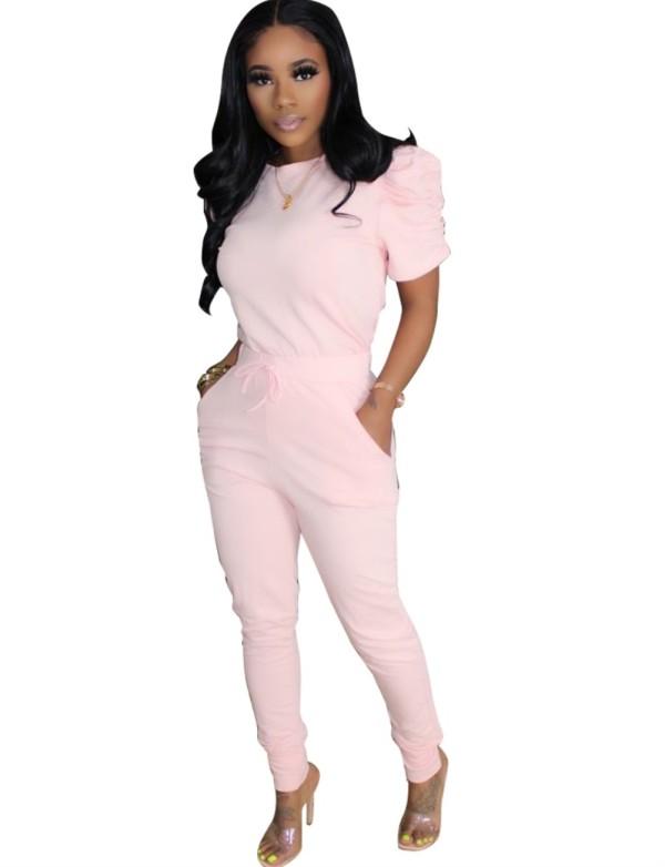 Einfarbiges Sommer-zweiteiliges passendes Hosen-Set