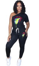 Sommer Casual Print One Schulter Jumpsuit