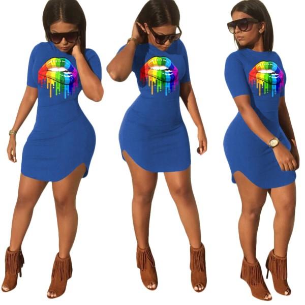 Verão Lip Print Slit Shirt Dress