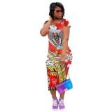 Vestido midi estampado Summer African Poker