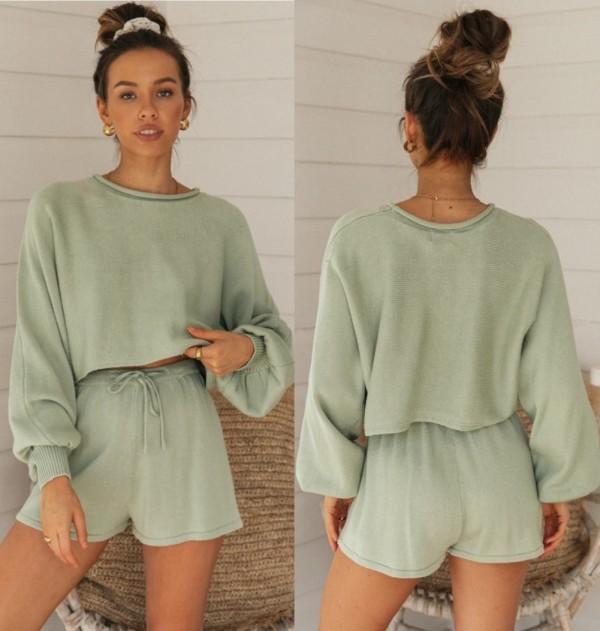 Conjunto de pijama de dos piezas a juego de otoño de color sólido