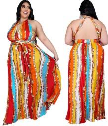 Vestido largo halter africano estampado talla grande