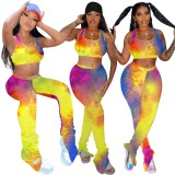 Tie Dye Sexy Crop Top und Stacked Legging Set