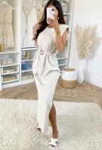 Sommer Elegant Plain Midi Kleid mit Gürtel