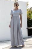 Vestido largo casual de verano con cuello en O liso
