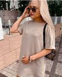 Einfarbiges Sommerhemd mit O-Ausschnitt und Gürtel