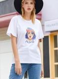 Camisa regular de verano con cuello redondo y estampado
