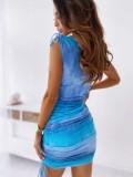 Mini vestido fruncido sin mangas con efecto tie dye