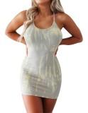 Mini vestido halter sexy con efecto tie dye