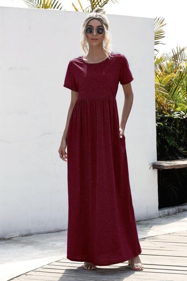 Sommer lässiges einfarbiges langes Kleid mit O-Ausschnitt