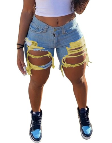 Summer Contrast Damage Rip Denim Shorts