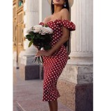 Sommer Vintage Polka Midi Kleid