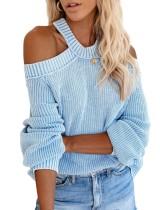 Suéter flojo halter de color sólido